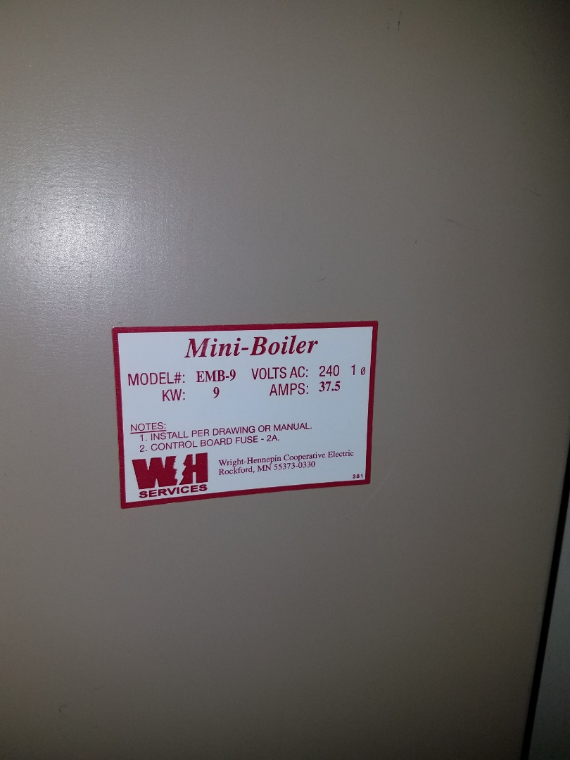 Rogers, MN - Boiler service. Diagnosed a failing control board on an Electro Industries electric boiler.