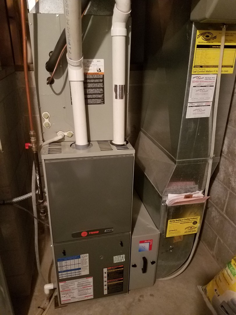 Delano, MN - Furnace maintenance. Performed tune up and cleaning on Trane furnace.