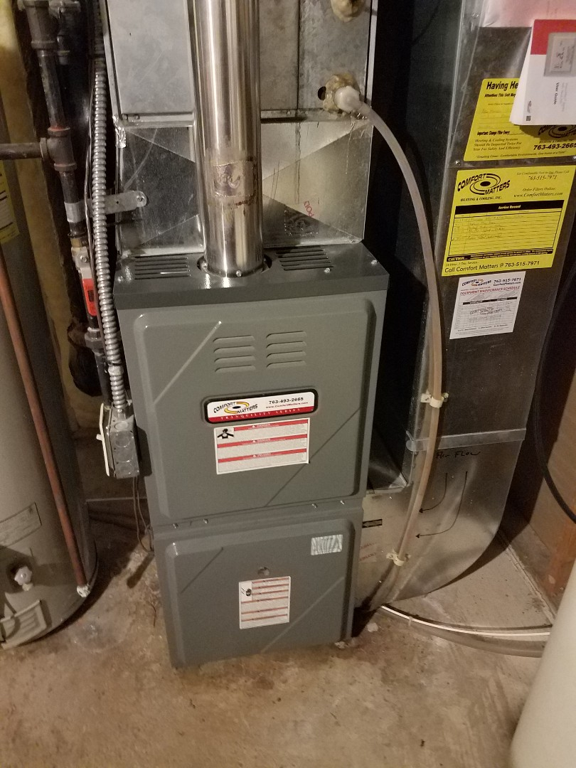 Monticello, MN - Furnace maintenance. Performed furnace tune up abs cleaning on a Comfort Matters furnace.