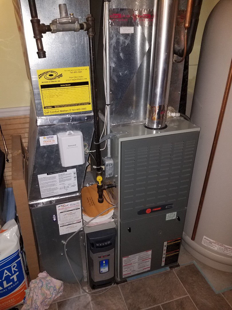 Rockford, MN - Furnace service. Performed a cleaning and tune up on a Trane furnace.