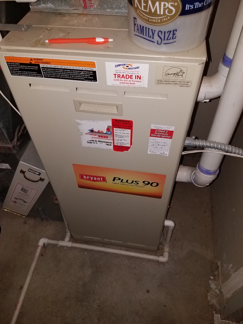Otsego, MN - Furnace tune up and clean on Bryant unit in Otsego