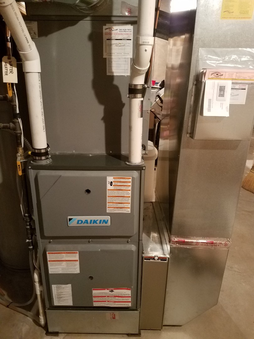 Delano, MN - Furnace maintenance. Performed cleaning and tune up on a Daikin furnace.