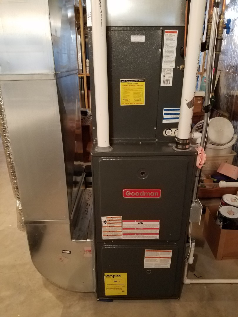 Hanover, MN - Heating maintenance. Performed cleaning and tune up on a Goodman furnace.