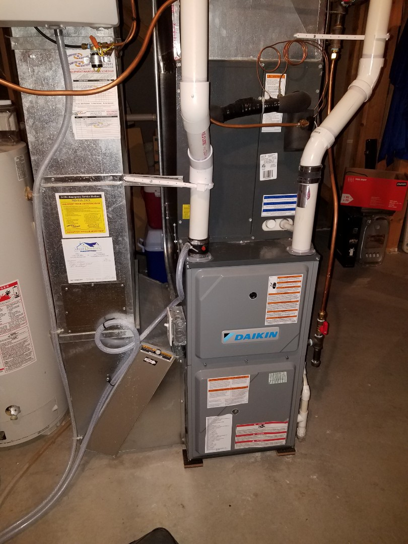 Rogers, MN - Furnace maintenance. Performed a cleaning and tune up on a Daikin furnace. Also connected a gas line on a gas dryer.