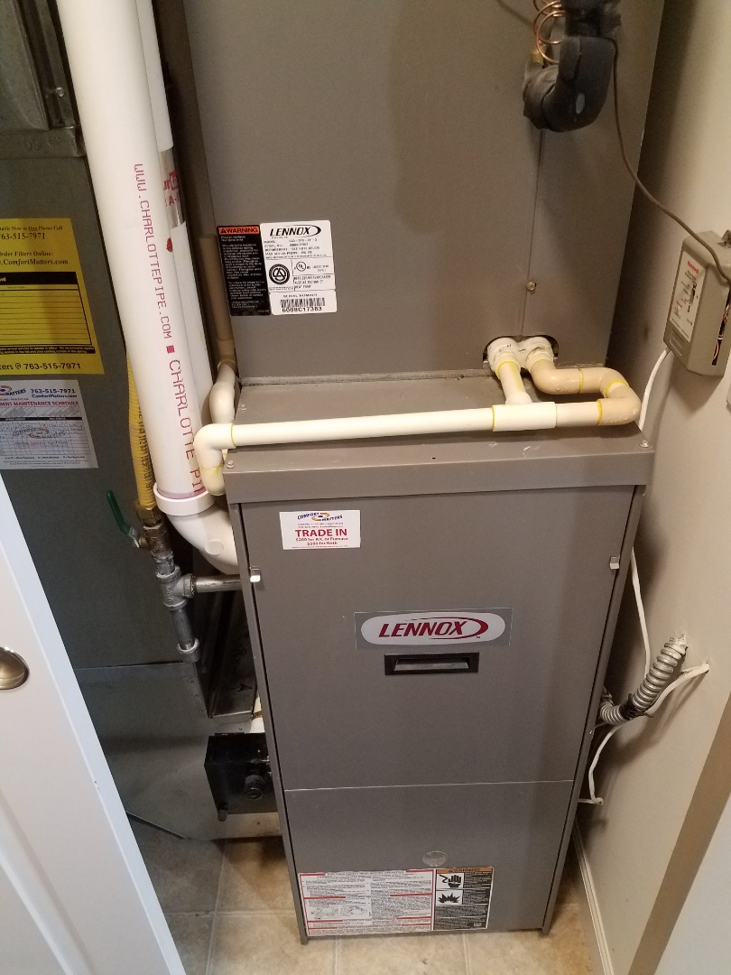 Rogers, MN - Furnace maintenance. Performed cleaning and tune up on a Lennox furnace.