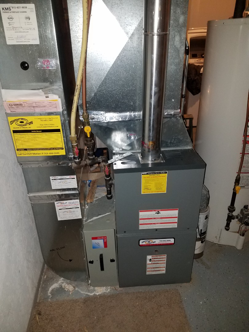 Delano, MN - Heating maintenance. Performed cleaning and tune up on a Comfort Matters furnace. Performed tune up and cleaning on a Comfort Matters whole home humidifier.