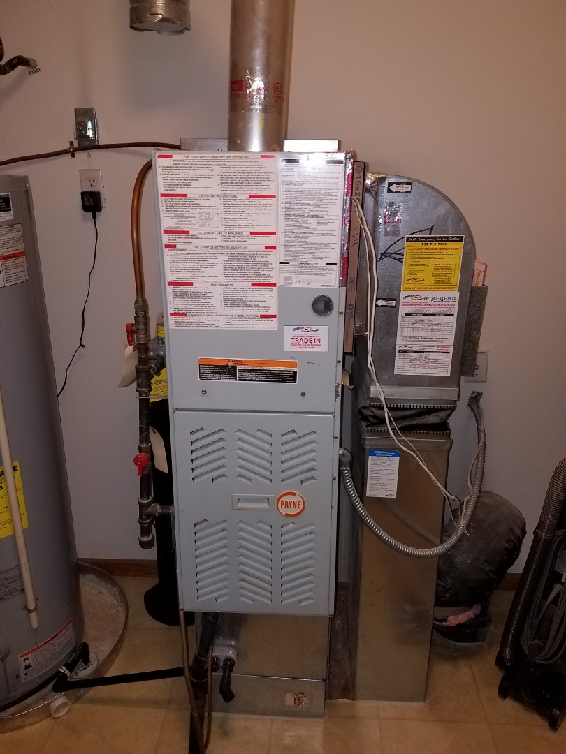 Elk River, MN - Furnace tune up and cleaning on Payne furnace