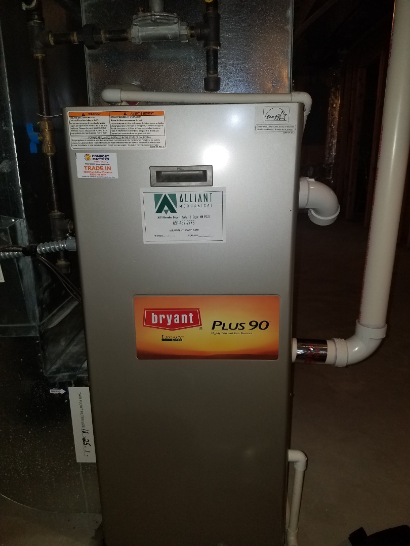 Brooklyn Park, MN - No heat on Bryant furnace in Brooklyn Park. Found restriction in draining trap.