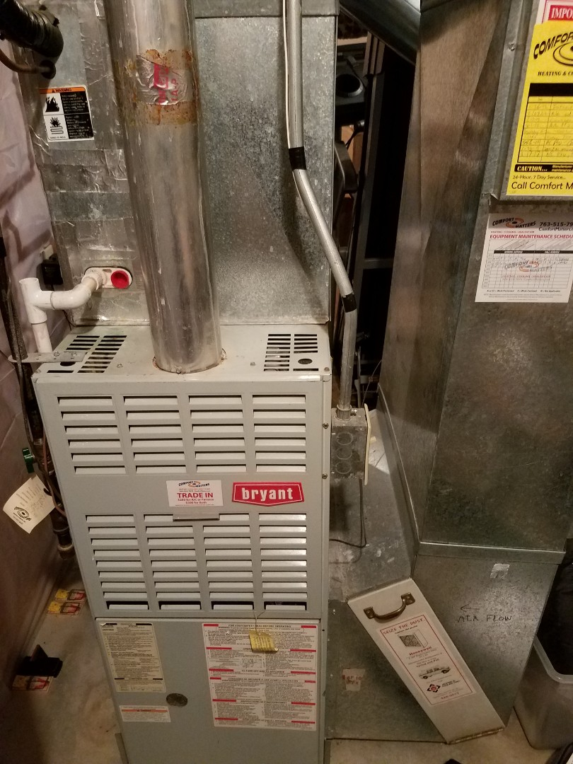 Rogers, MN - Heating maintenance. Performed cleaning and tune up on a Bryant furnace.