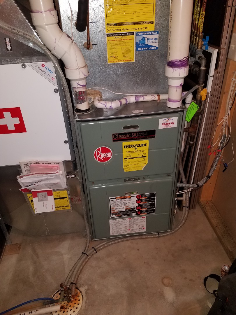 Maple Grove, MN - No heat call in Rheem furnace in Rogers.