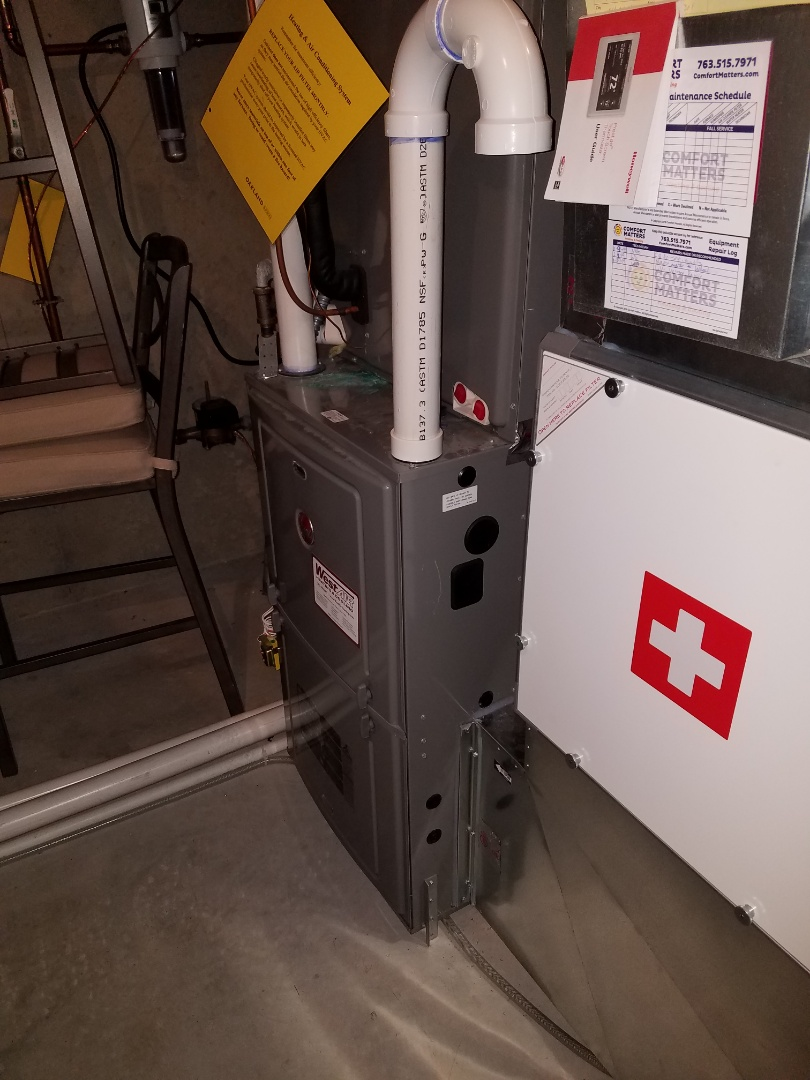 Ramsey, MN - Furnace service. Installed a blower motor and wheel on a Rheem furnace.