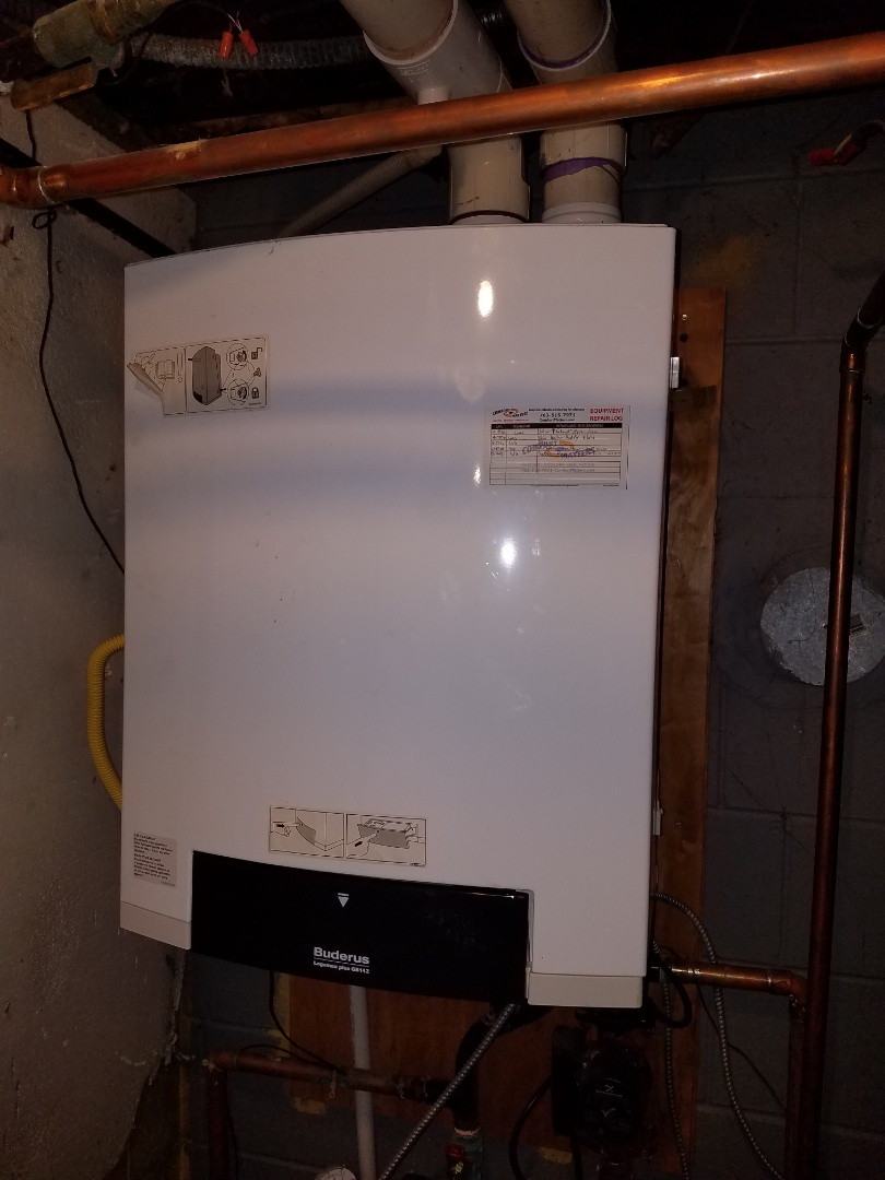 Maple Grove, MN - Boiler service. Performed a piping repair on a radiator for a Buderus boiler.