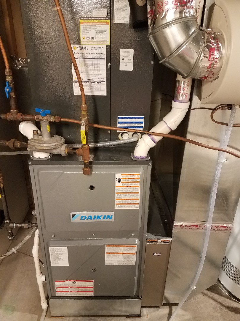 Osseo, MN - Heating maintenance. Performed cleaning and tune up on a Daikin furnace.