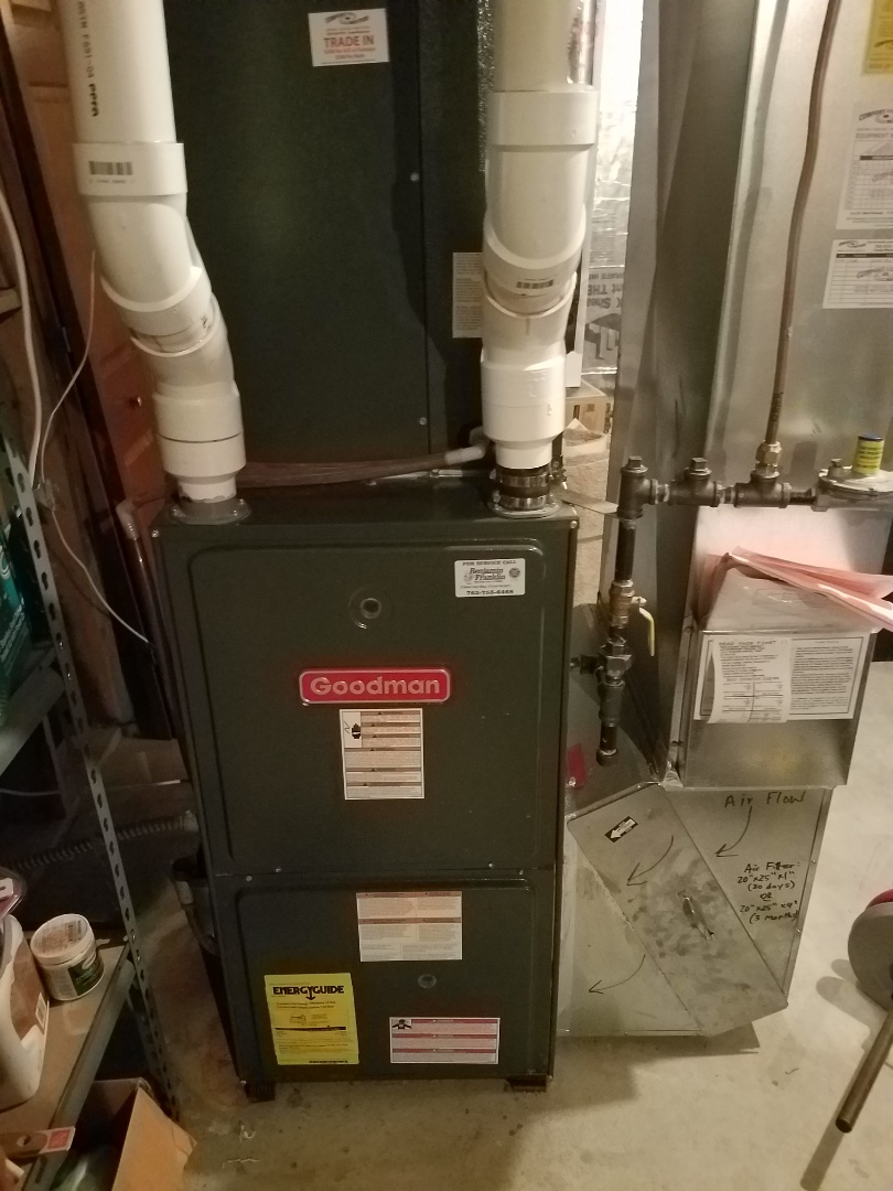 Albertville, MN - Heating maintenance. Performed tune up and cleaning on a Goodman furnace.