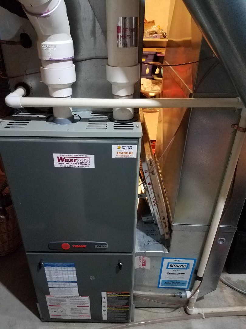Rogers, MN - Furnace maintenance. Performed tune up and cleaning on a Trane furnace.