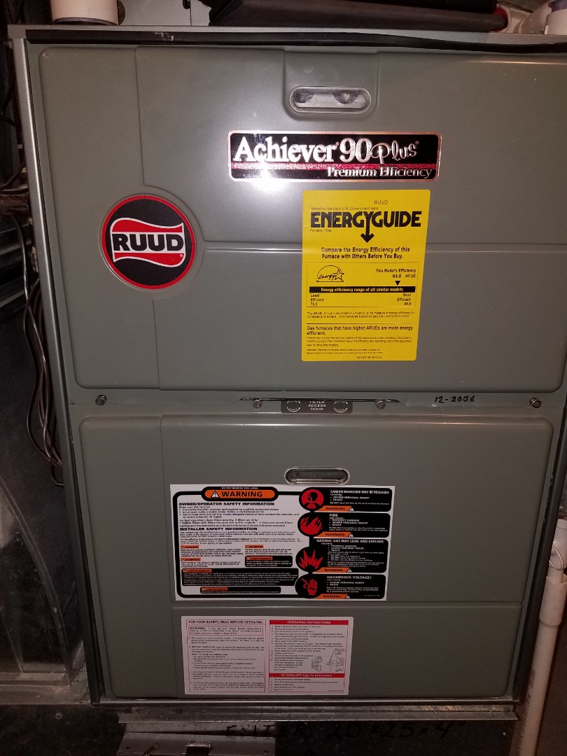 Rockford, MN - Furnace tune up and cleaning on ruud furnace