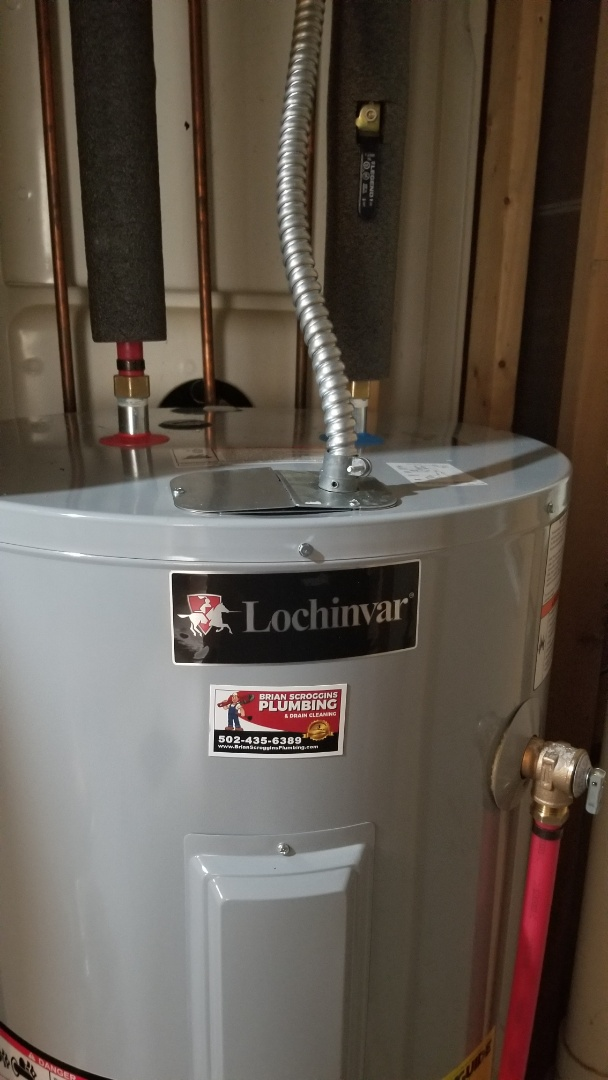 New electric water heater installation