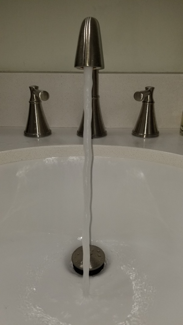 Cleaned lavatory drain line