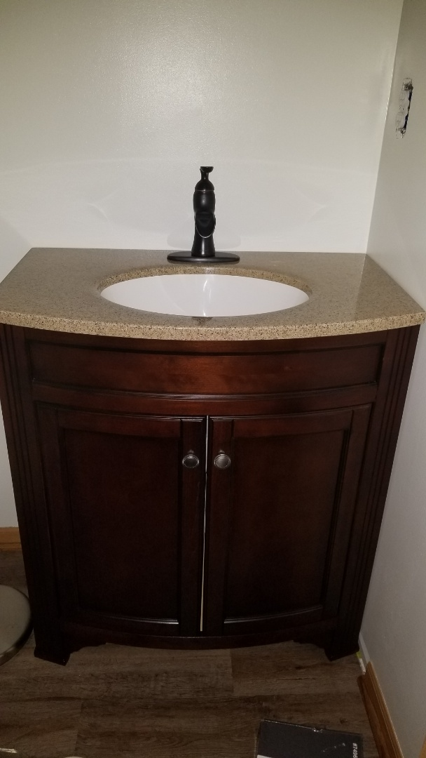 New vanity faucet and drain installation