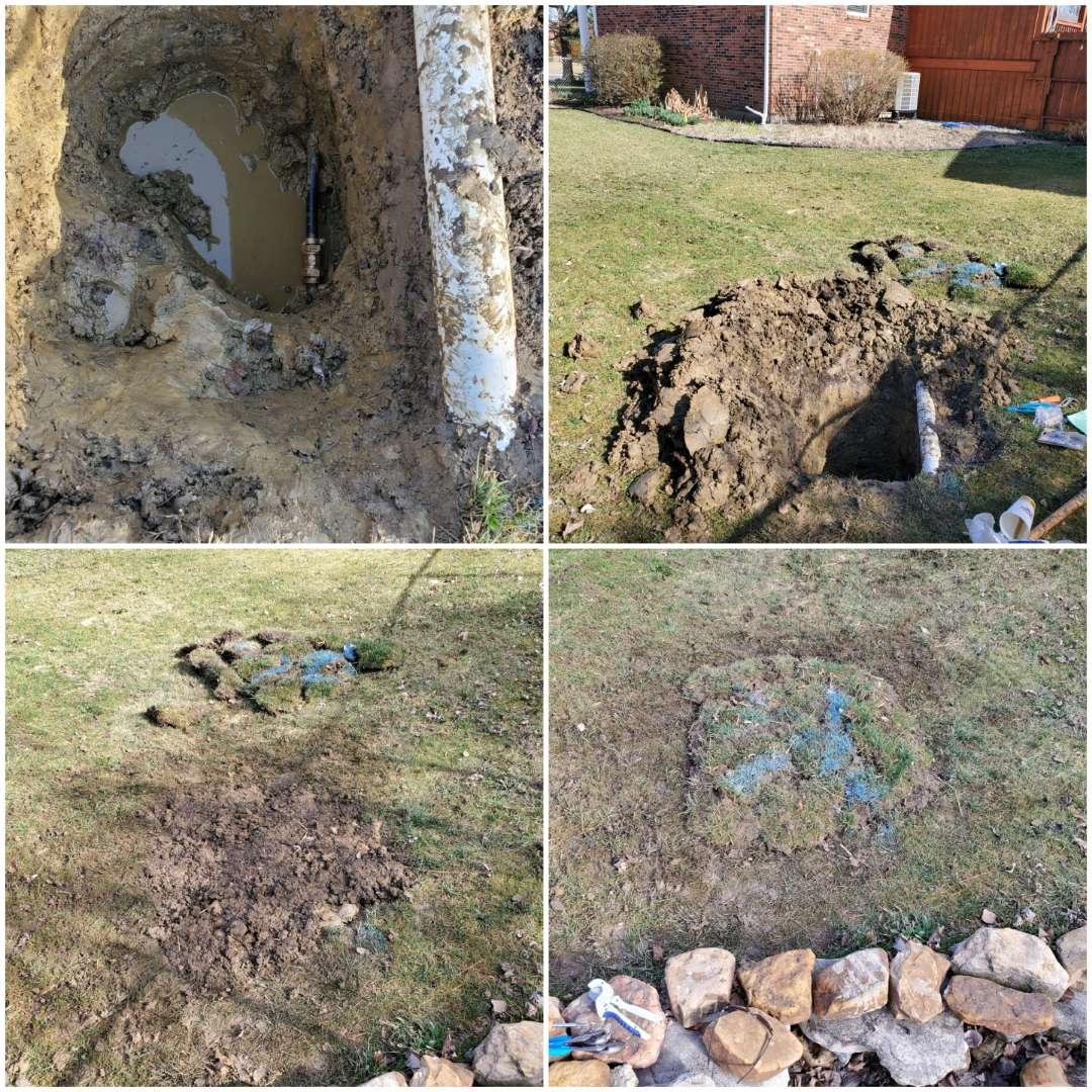 Clarksville, IN - Water leak repair in side yard