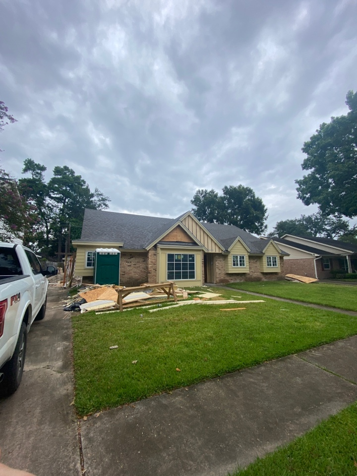 Houston, TX - Can't wait to see this remodel once it's finished! Our new roof has already given it a great start