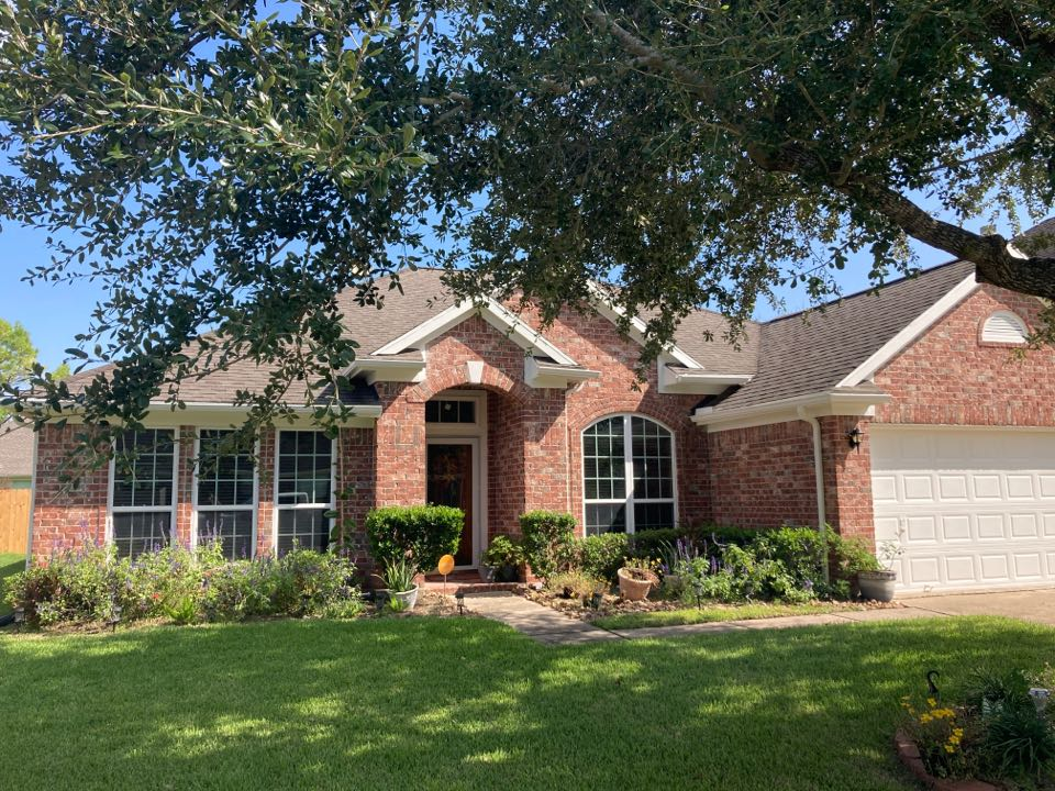 Pearland, TX - Roof inspection for roof damage from wind and tropical storm Nicholas. We will be looking for blown off shingles and roof water damage. We will be preparing a roof repair proposal for the home owner.