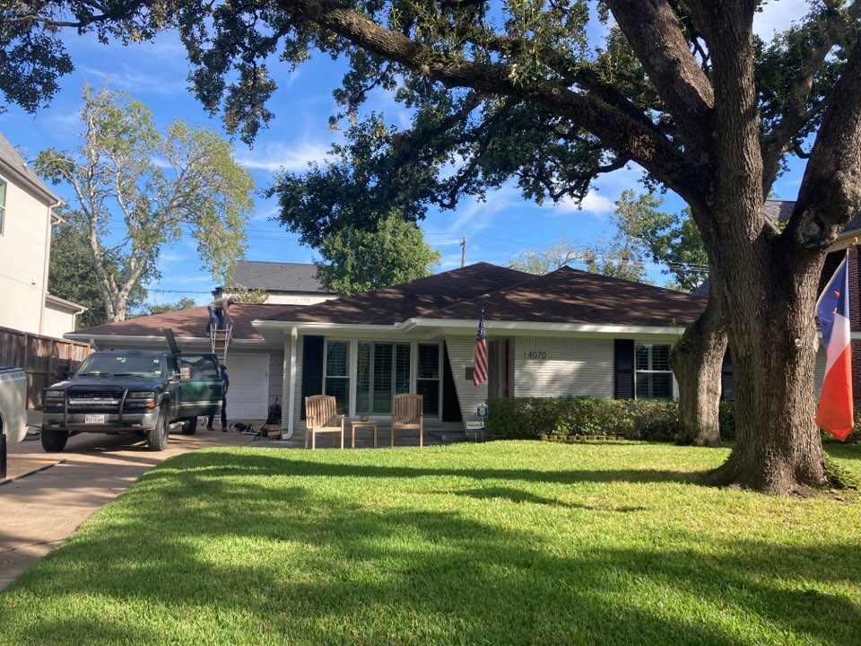Houston, TX - Roof repair on metal porch roof beginning today. We will be replacing rotten roof decking and rotten framing before sealing all roof flashing.