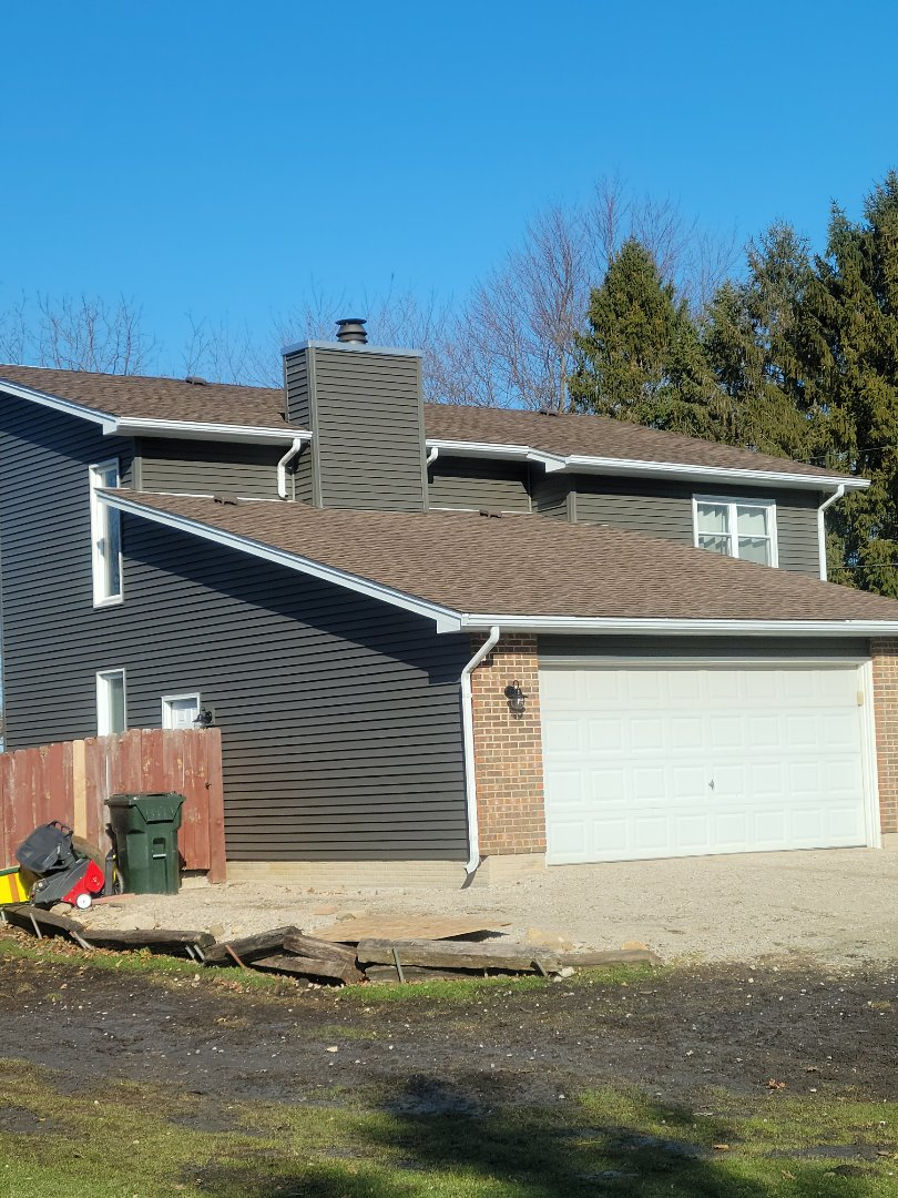 New Mastic vinyl siding Mist Shadow with white ACM aluminum soffit and fascia
