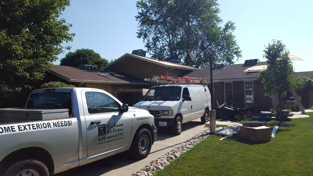 Minooka, IL - New iko cambridge roof starting today.  Stay tuned for the after pictures