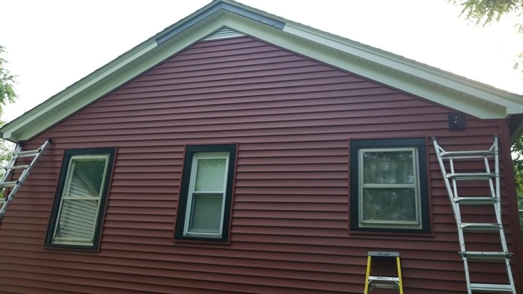 New siding soffit and  aluminum window wraps