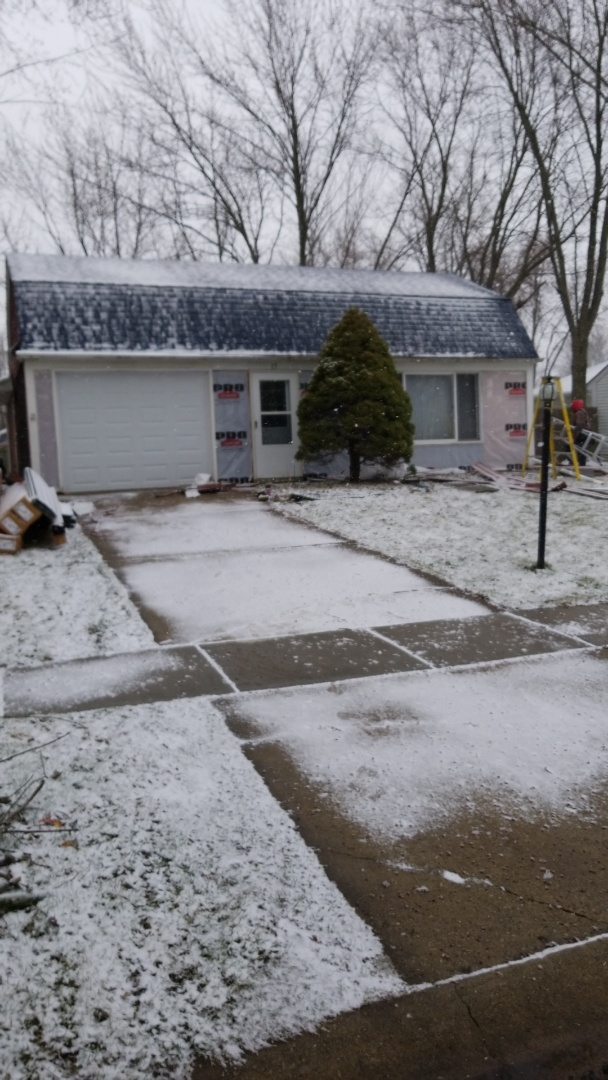 Montgomery, IL - Snow does not stop our siding projects just wait until you see the pictures when we are done