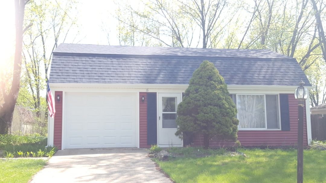 Montgomery, IL - New IKO Cambridge National Blue roof with Mastic Quest Russet Red siding