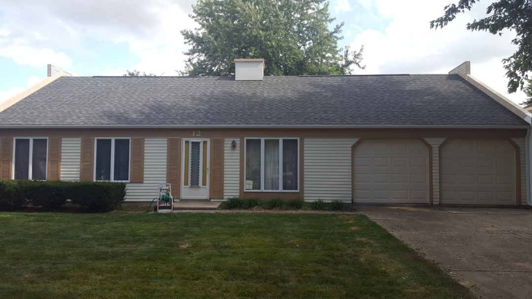 "Oswego, IL - New IKO Cambridge Charcoal Gray roof w/New 5"" aluminum seamless gutters and EZ step down gutter guard"