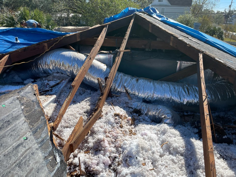 Home with roof damage in downtown Pensacola has major water and mold damages, customer needs drying and mold remediation.