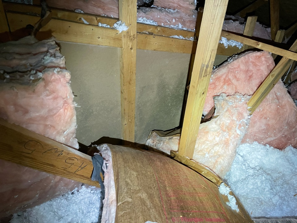 Home in Perdido Key has roof damage from hurricane Sally which damaged home and attic. Moisture in attic resulted in microbial growth. Recommended removal of affected insulation and cleaning and treatment with anti microbial of attic.