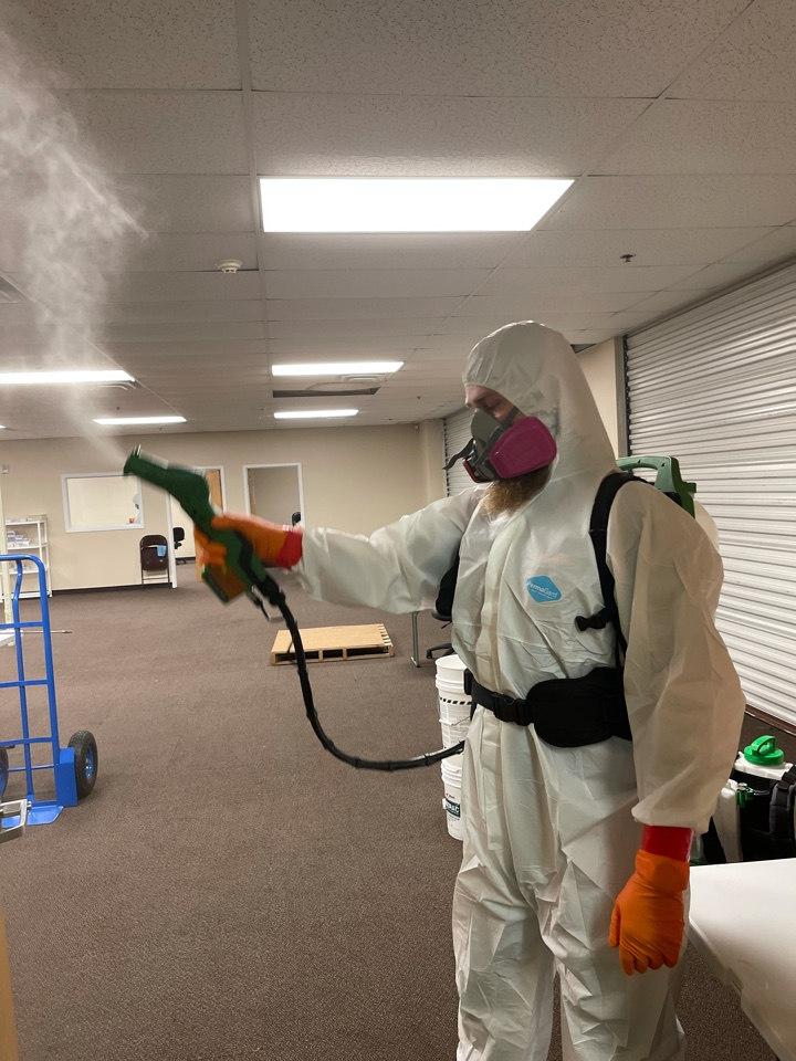 Servpro of West Pensacola stays ready to suit up and respond to any COVID or Biohazard cleanings. Using electrostatic sprayers, and eco-friendly products, we can disinfect a workplace in a short period of time, and have people back to work in a clean and safe environment, so people do not have to miss work, or be worried about potential sickness.