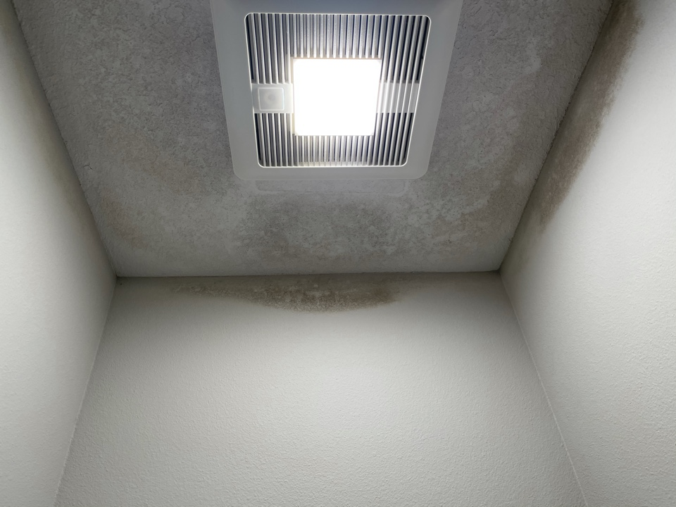 "Home in East Hill has a moisture issue in master bath where vent on roof has leaked onto the ceiling and allowed mold to grow. We will remove the section of drywall, treat and then replace and paint to match. ""Like it never even happened""."
