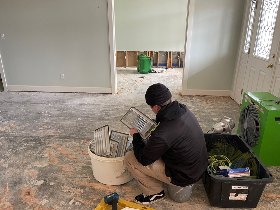 Duct cleaning is a major part of post construction and mold cleaning. Running brushes through the ducts as well as using air scrubbers to remove dust and particles from the air.