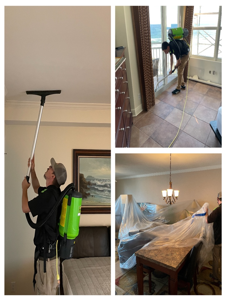 Post construction cleaning of 125 condos in Perdido Key FL. Condos were damaged during hurricane Sally and needed much work to het  them ready for the summer season.  Crews are HEPA vacuuming drywall dust from ceilings and walls, removing furniture plastic and floor protection before our crews clean each unit. We have 10 days to get them all done before spring break.