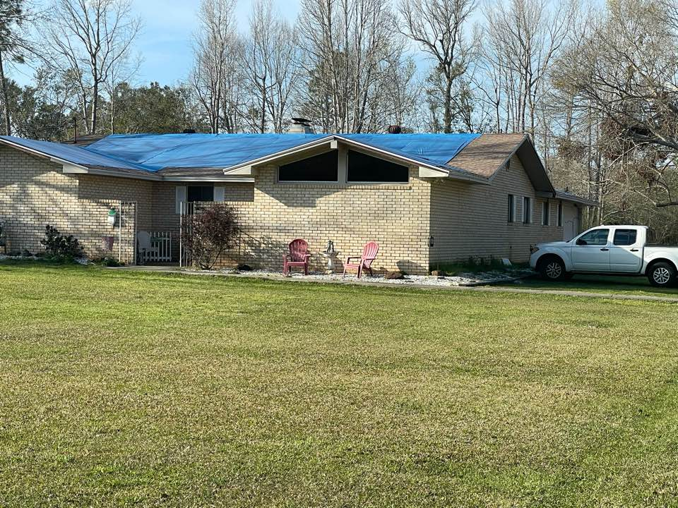 Cantonment, FL - Customer has serious roof damage from the storm, still waiting on a public adjuster and insurance to provide funds for repairs. In the time since the storm he has mold growth due to the leaking tarp. Recommending a mold assessment and lab work to determine the type of mold present and a mold protocol before work to begin.