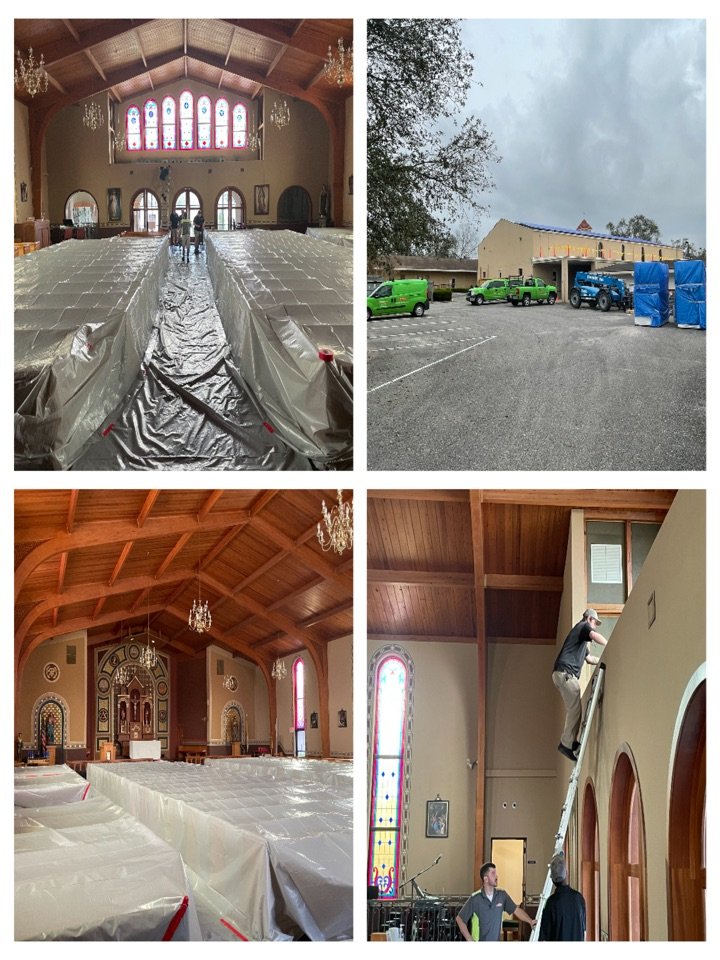 Large Catholic Church had major roof issues and needed SERVPRO WEST to secure the sanctuary and protect all the contents while the roof is being repaired. Our guys responded within the hour and had the job secured before the rains came.