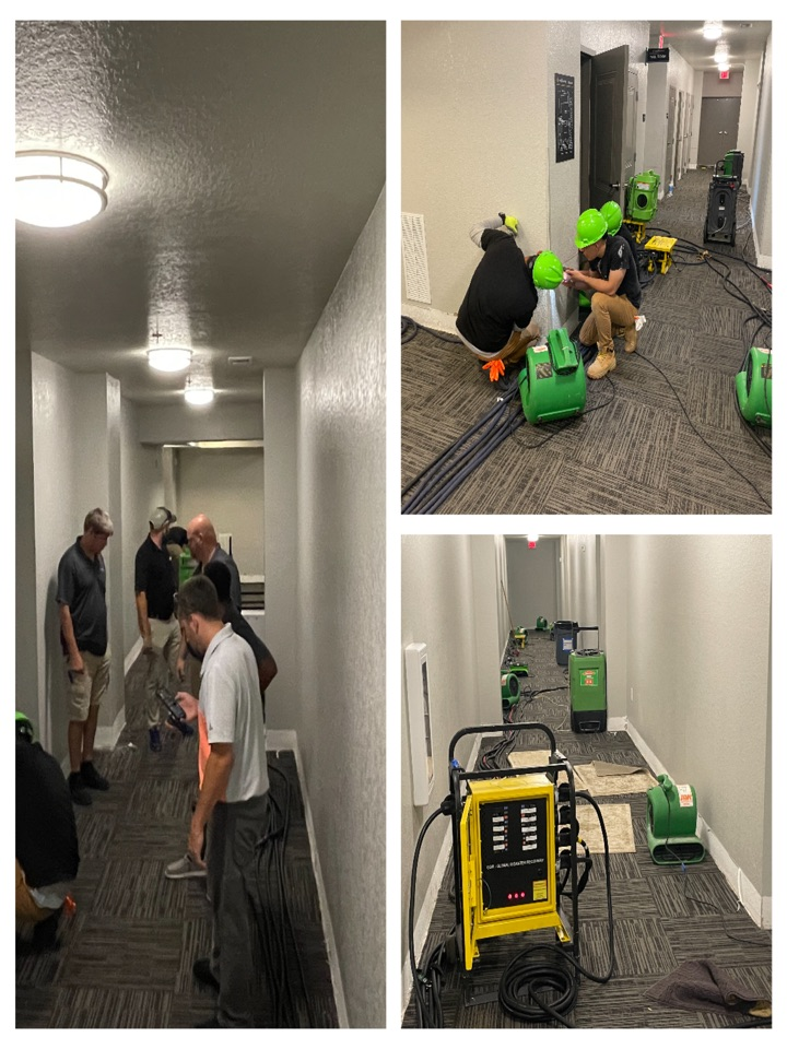 Working large loss in downtown Pensacola, 6 inch water line failed and flooded structure. SERVPRO of West Pensacola is onsite and putting things back together.