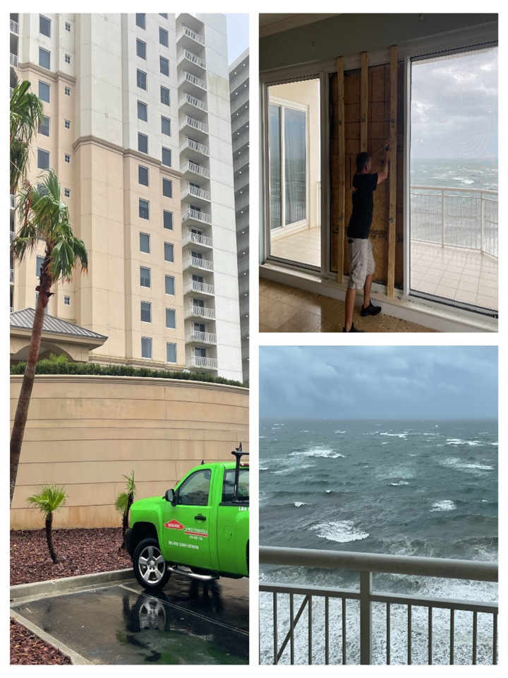 Pensacola, FL - Windows blew out in penthouse during storm. Crews responded and were able to board up even with the wind howling.