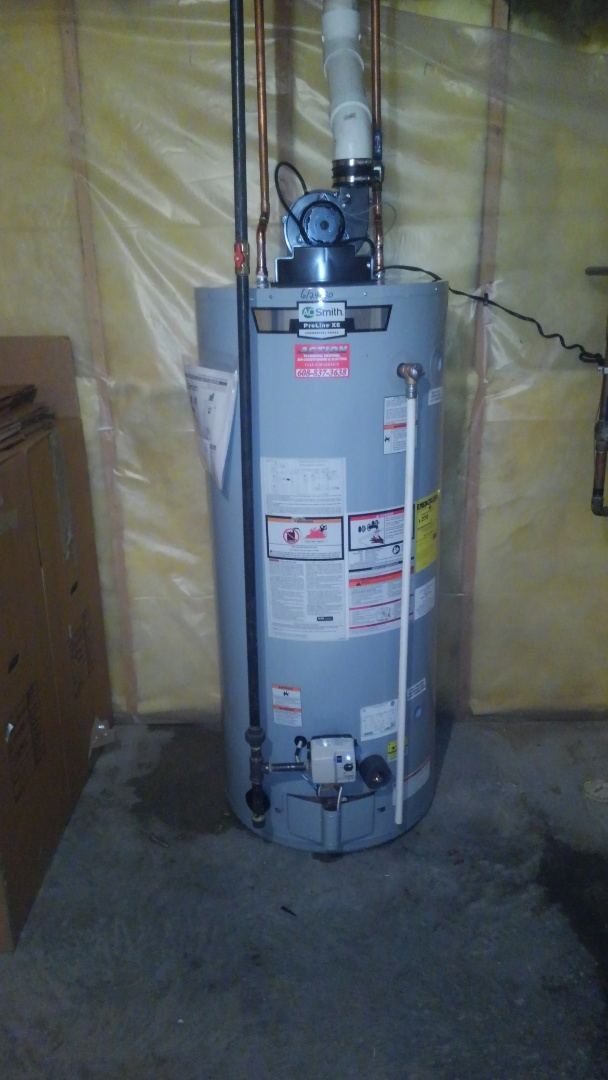 Sun Prairie, WI - Home inspector found water heater leaking installed new 75 gallon power vent water heater
