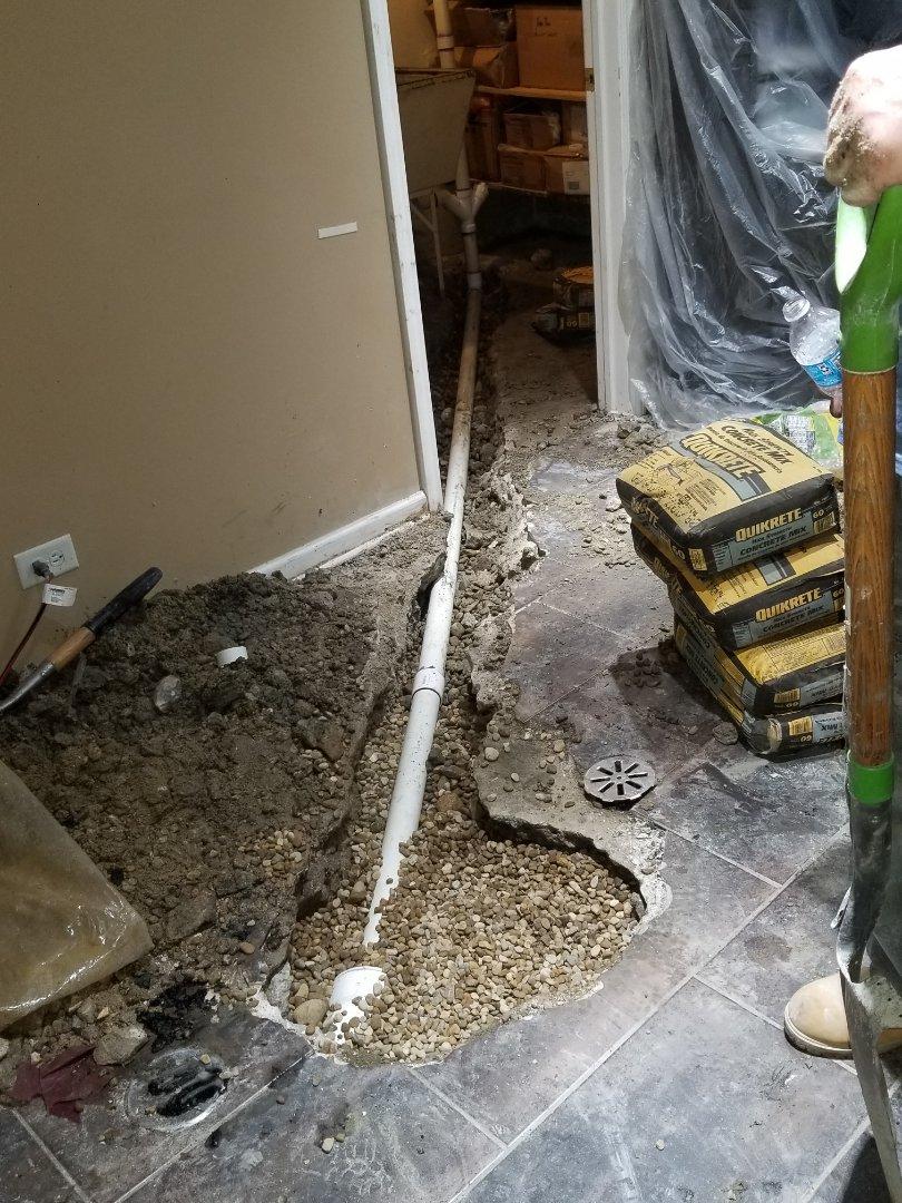 Replace underground kitchen sink line
