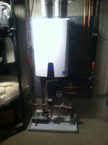 "Princeton, NJ - Removing old inefficient 75 gallon hot water heater and installing new ""Navien"", tankless heater for better performance and money saving benefits...get yours to day and keep some money in your pockets!"