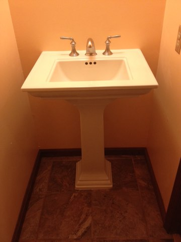 Mansfield, NJ - Just finished installing a pedestal sink for a VP member in Columbus