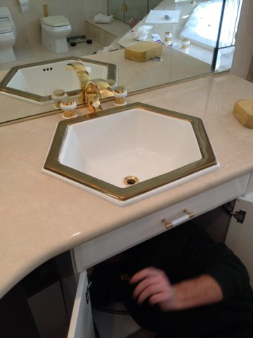 Marlboro Township, NJ - Re-installing a sink for one of our VP members