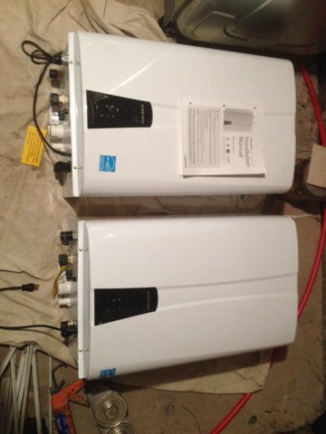 Rumson, NJ - 2 Navien npe-240a model condensing water heaters ready to go.  Installing great products at great prices.  Final installation pictures comming!