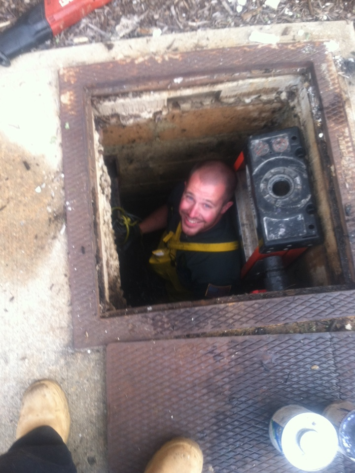 Today we are fixing sewer ejector pumps in a 2000 gal sewer pit at a warehouse